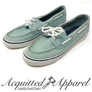 Sperry Leather Tiffany Blue Boat Shoes Leather